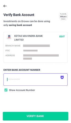 verify bank account for groww app account opening
