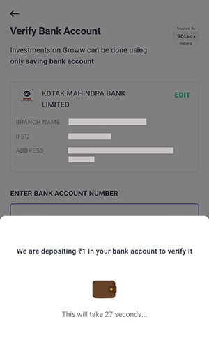 verify bank for groww app account opening