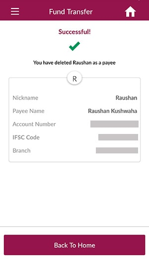 you have deleted axis bank payee