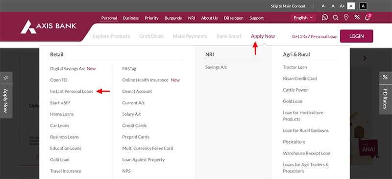 axis bank instant personal loan apply