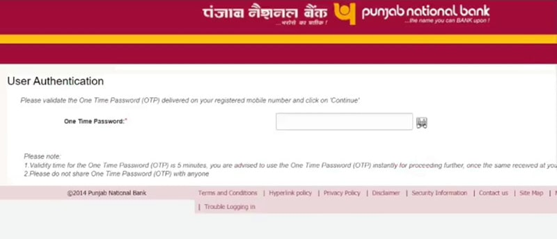 enter otp for pnb generate debit card pin