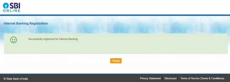 successfully registered for internet banking